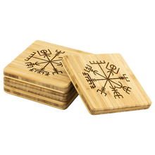 Load image into Gallery viewer, Viking Compass Bamboo Coaster Set