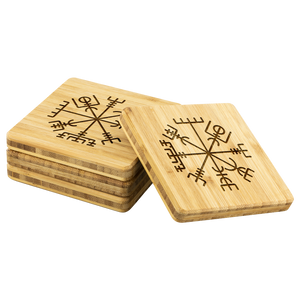 Viking Compass Bamboo Coaster Set
