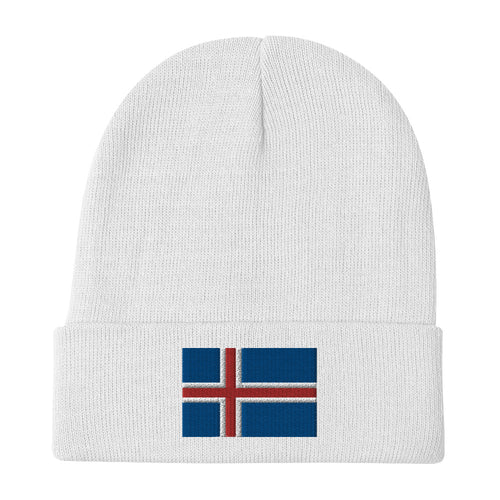 Icelandic Flag Embroidered Beanie White - Scandinavian Design Studio