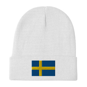 Swedish Flag Embroidered Beanie White - Scandinavian Design Studio