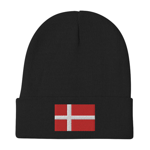 Danish Flag Embroidered Beanie Black - Scandinavian Design Studio