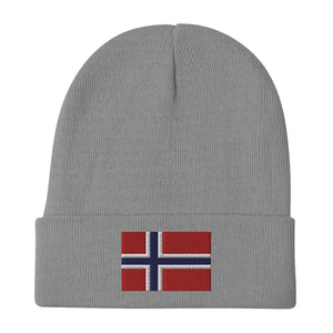 Norwegian Flag Embroidered Beanie Gray - Scandinavian Design Studio