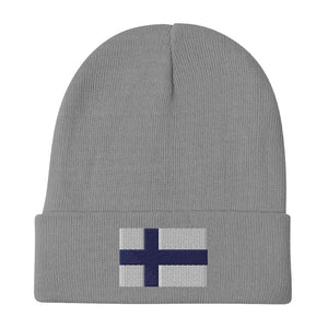 Finnish Flag Embroidered Beanie Gray - Scandinavian Design Studio