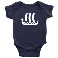 Load image into Gallery viewer, Viking Ship Baby Bodysuit Baby Bodysuit / Navy / NB - Scandinavian Design Studio