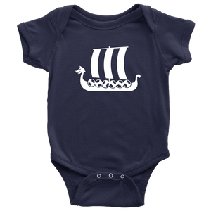 Viking Ship Baby Bodysuit Baby Bodysuit / Navy / NB - Scandinavian Design Studio
