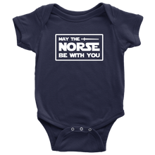 Load image into Gallery viewer, May The Norse Be With You Baby Bodysuit Baby Bodysuit / Navy / NB - Scandinavian Design Studio