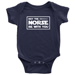 May The Norse Be With You Baby Bodysuit Baby Bodysuit / Navy / NB - Scandinavian Design Studio