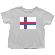 Load image into Gallery viewer, Faroese Flag Toddler Tee Toddler T-Shirt / White / 2T - Scandinavian Design Studio