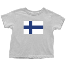 Load image into Gallery viewer, Finnish Flag Toddler Tee Toddler T-Shirt / White / 2T - Scandinavian Design Studio