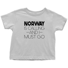 Load image into Gallery viewer, Norway Is Calling And I Must Go Toddler Tee Toddler T-Shirt / White / 2T - Scandinavian Design Studio