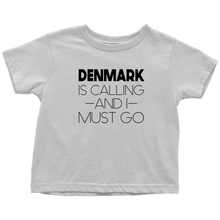 Load image into Gallery viewer, Denmark Is Calling And I Must Go Toddler Tee Toddler T-Shirt / White / 2T - Scandinavian Design Studio