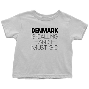 Denmark Is Calling And I Must Go Toddler Tee Toddler T-Shirt / White / 2T - Scandinavian Design Studio