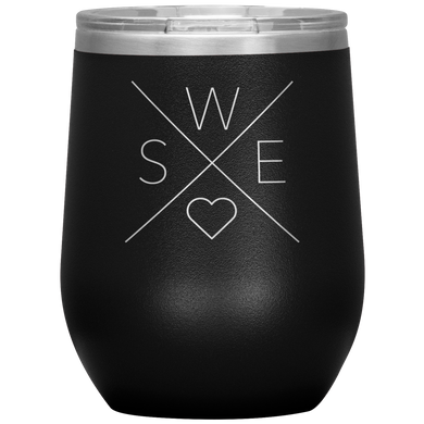 Sweden Love Wine Tumbler Black - Scandinavian Design Studio