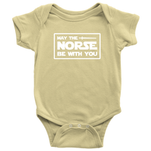 Load image into Gallery viewer, May The Norse Be With You Baby Bodysuit Baby Bodysuit / Lemon / NB - Scandinavian Design Studio