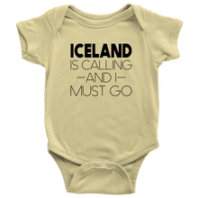 Load image into Gallery viewer, Iceland Is Calling And I Must Go Baby Bodysuit Baby Bodysuit / Lemon / NB - Scandinavian Design Studio