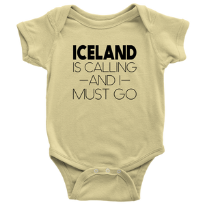 Iceland Is Calling And I Must Go Baby Bodysuit Baby Bodysuit / Lemon / NB - Scandinavian Design Studio