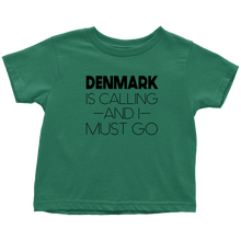 Load image into Gallery viewer, Denmark Is Calling And I Must Go Toddler Tee Toddler T-Shirt / Kelly / 2T - Scandinavian Design Studio