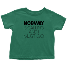 Load image into Gallery viewer, Norway Is Calling And I Must Go Toddler Tee Toddler T-Shirt / Kelly / 2T - Scandinavian Design Studio