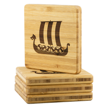 Load image into Gallery viewer, Viking Ship Bamboo Coaster Set