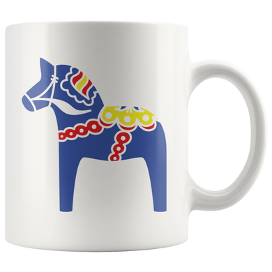 Traditional Dala Horse Ceramic Coffee Mug White - Scandinavian Design Studio