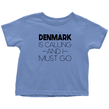 Load image into Gallery viewer, Denmark Is Calling And I Must Go Toddler Tee Toddler T-Shirt / Baby Blue / 2T - Scandinavian Design Studio