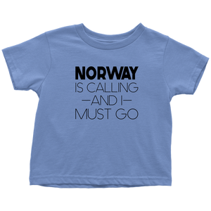 Norway Is Calling And I Must Go Toddler Tee Toddler T-Shirt / Baby Blue / 2T - Scandinavian Design Studio