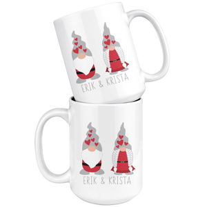 Personalized Valentine's Day Gnome Couple Large Mug - Scandinavian Design Studio