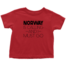 Load image into Gallery viewer, Norway Is Calling And I Must Go Toddler Tee Toddler T-Shirt / Red / 2T - Scandinavian Design Studio