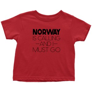 Norway Is Calling And I Must Go Toddler Tee Toddler T-Shirt / Red / 2T - Scandinavian Design Studio