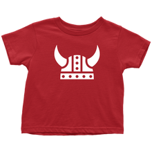 Load image into Gallery viewer, Viking Helmet Toddler Tee Toddler T-Shirt / Red / 2T - Scandinavian Design Studio