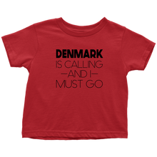 Load image into Gallery viewer, Denmark Is Calling And I Must Go Toddler Tee Toddler T-Shirt / Red / 2T - Scandinavian Design Studio