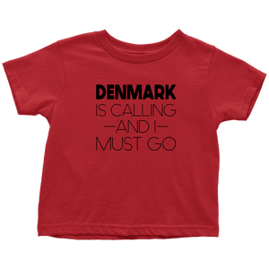 Denmark Is Calling And I Must Go Toddler Tee Toddler T-Shirt / Red / 2T - Scandinavian Design Studio