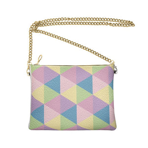 The Lulu Cross Body Bag - Pastel Triangles - Nappa Leather or Vegan Leather