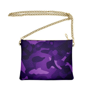 The Lulu Cross Body Bag - Dark Purple Camo - Nappa Leather or Vegan Leather
