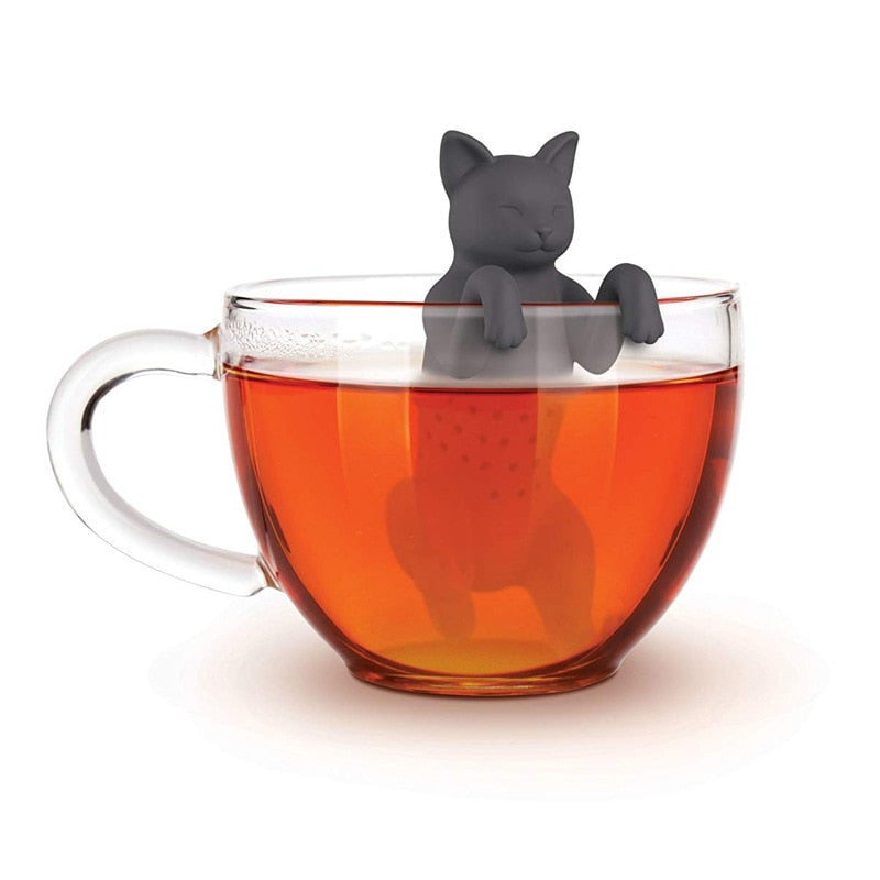 1pc Cat Reusable Silicone Tea Infuser Creative Cut Cat Tea Strainer Leaf Herbal Spice Filter Strainers Reusable Filter Tea Set
