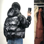 Vegan Leather Parka Puffa Jacket