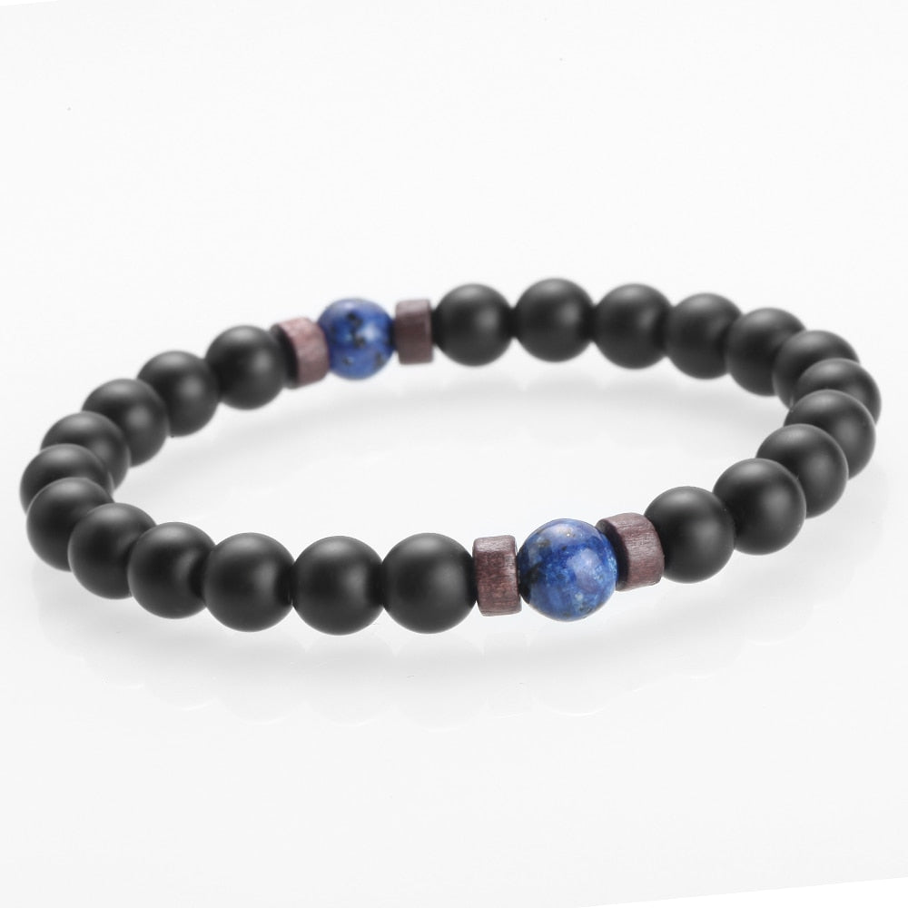 Men Bracelet Natural Mo Lava Stone Diffuser Bracelets - Different Designs