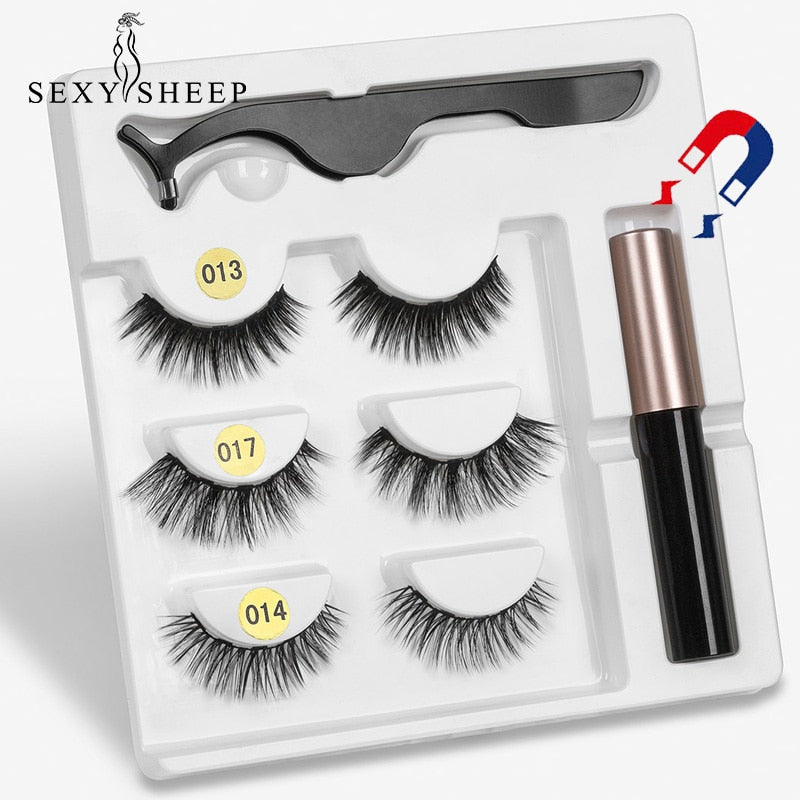 Magnetic Eyelashs set  Magnet Liquid Eyeliner& Magnetic Lashes & Tweezer Set Waterproof Long Lasting Eyelash Extension