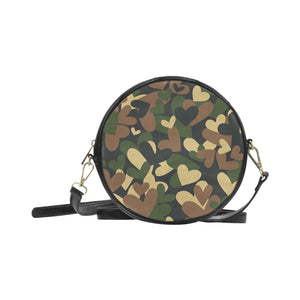 Vegan Leather Round Green Camo Handbag