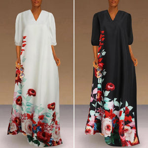 Gorgeous V Shape Dramatic Flowing  Dress With Flowers