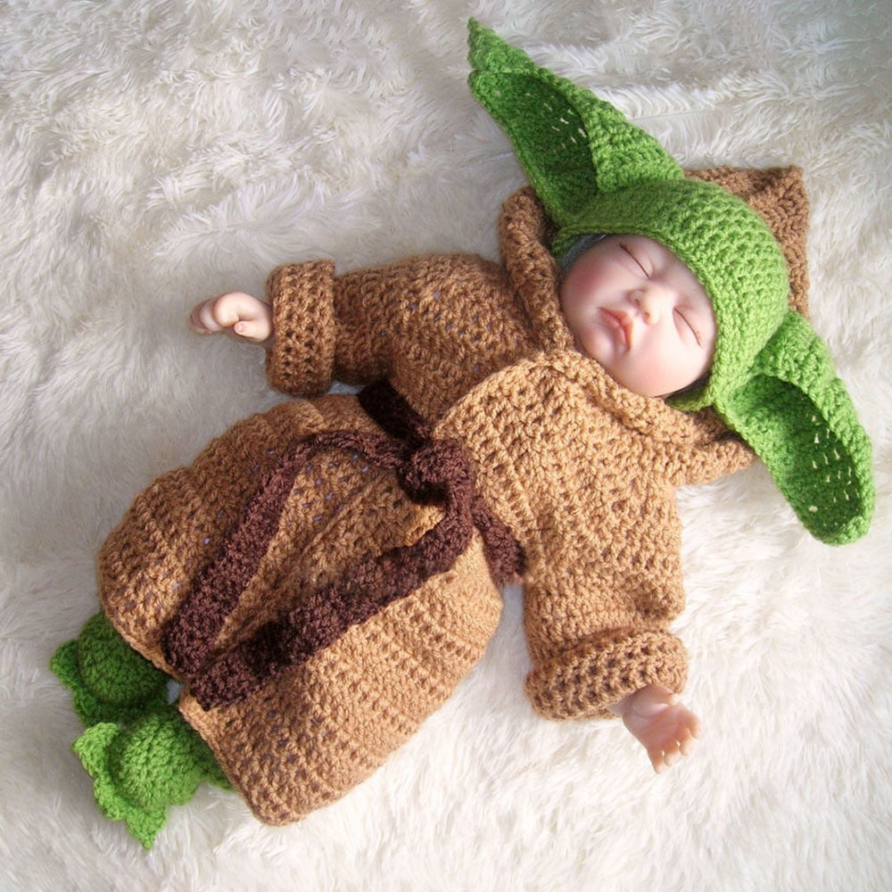 Star Wars Yoda The Mandalorian Crochet Baby Suit for Photography (Fancy Dress)