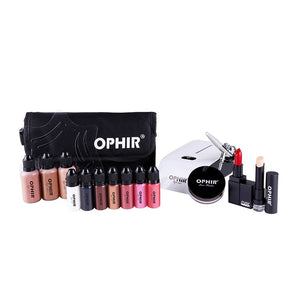 Airbrush Makeup System Set with 3 Concealer Foundations 2 Blush 5 Eyeshadow Lipstick Set & Bag Makeup Tool