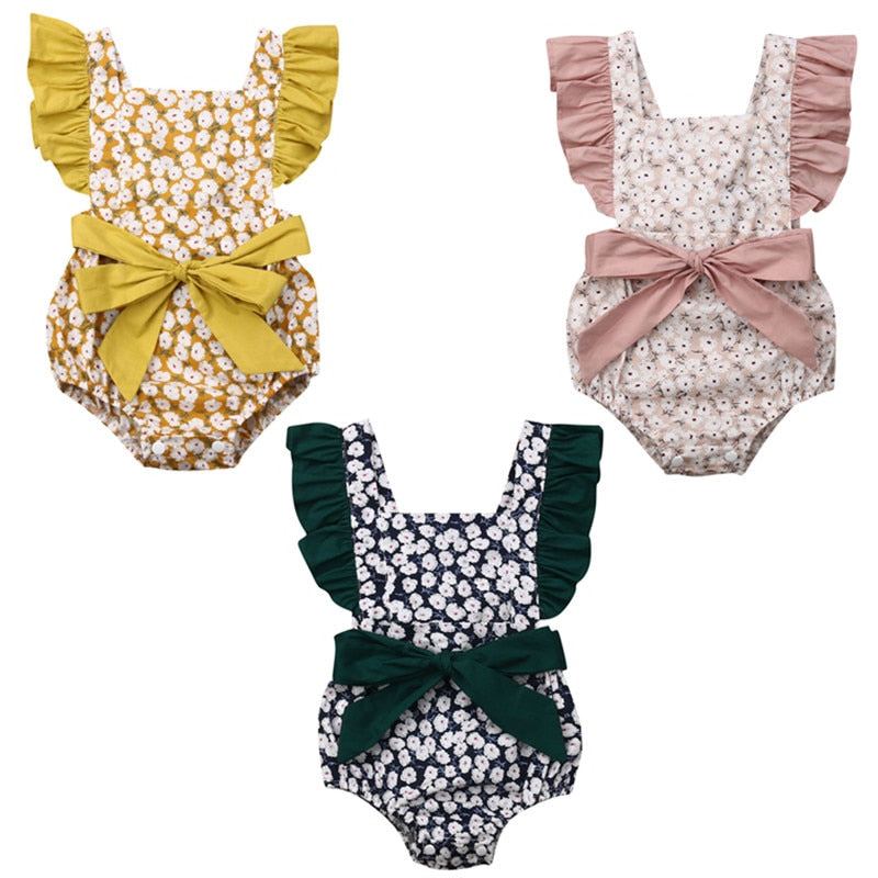 Luxury Cotton Flowered Romper Jump suit Baby Grow Summer Suit