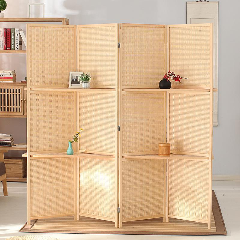 4-Panel Folding Bamboo Room Shelves