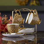 Leopard Print Bone China Coffee Set