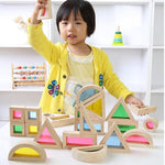 Wooden Shaped Toys with Transparent Windows Ideal for Counting, Shapes, and Stacking