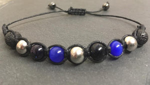 Mental Wellness Bracelet - Blue Sandstone and Lava - Anxiety, depression, panic attacks and ADHD.