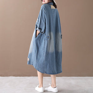 Denim Long Sleeve Washed Shirt Dress
