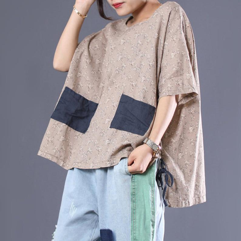 Women Printed Casual T-Shirt Linen Tops