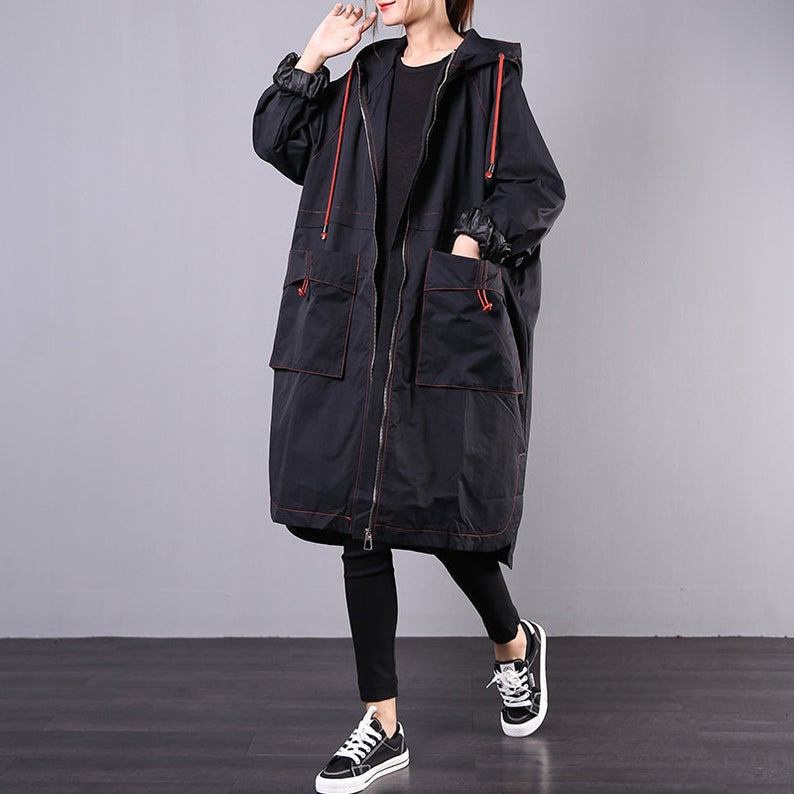 Women Autumn Hoodie Loose Red Jacket